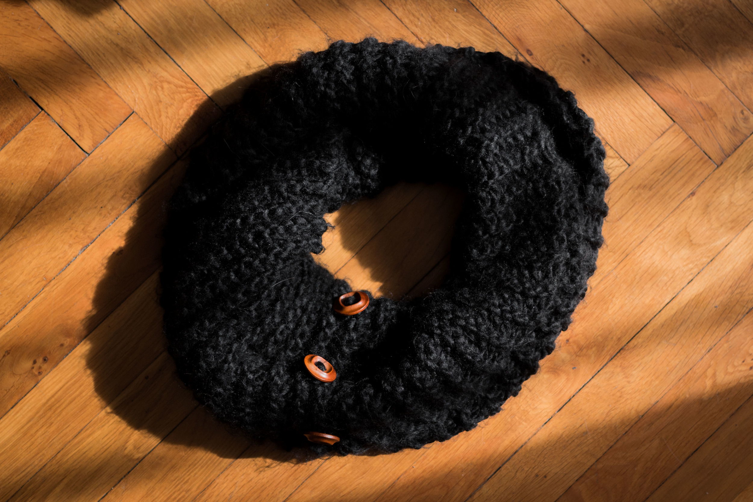 Colour story collaboration september was black knit scarf with wooden buttons