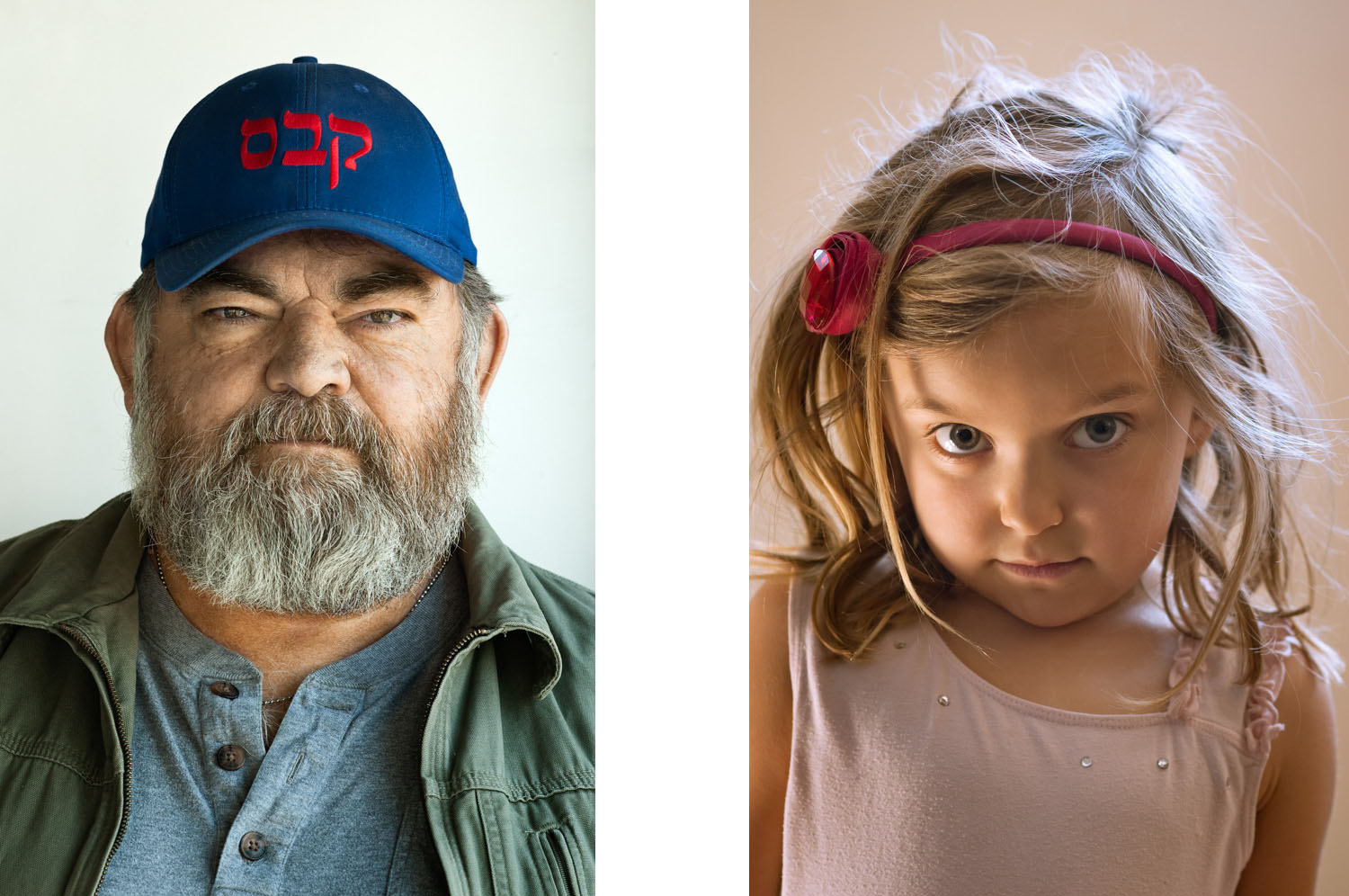 Headshot of an older man and a young girl