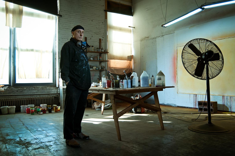 Portrait of an artist in a New York loft building