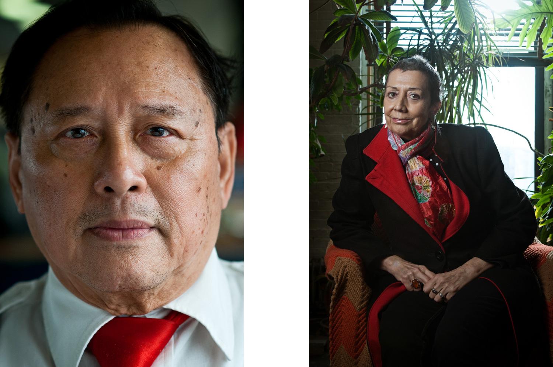 Portraits of an asian man and a spanisch woman