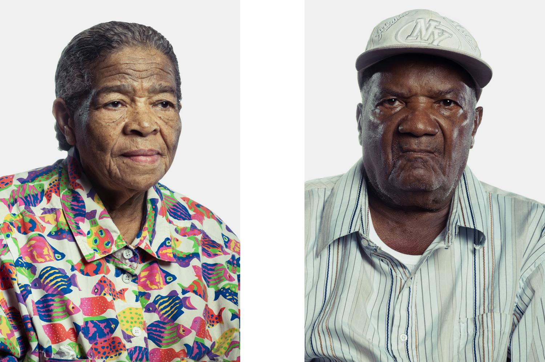 Portrait of elderly woman and men
