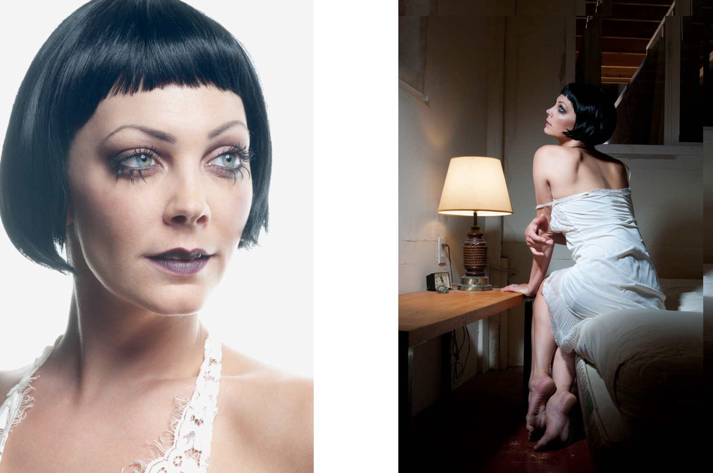 Portraits of a caucasian woman