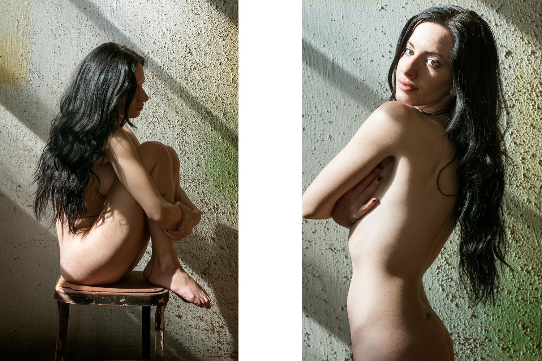Nude portrait of caucasian woman