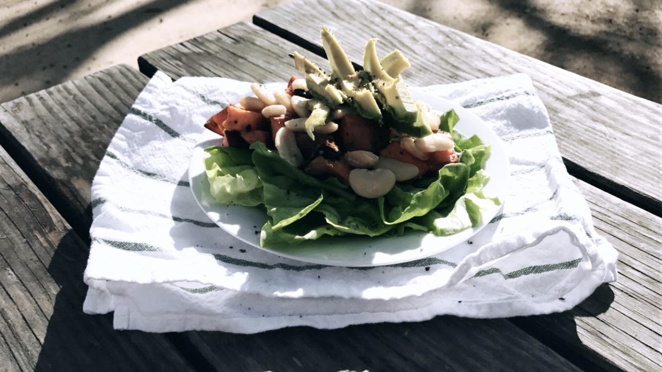 Avocado, Yams, Northern beans Salad. -