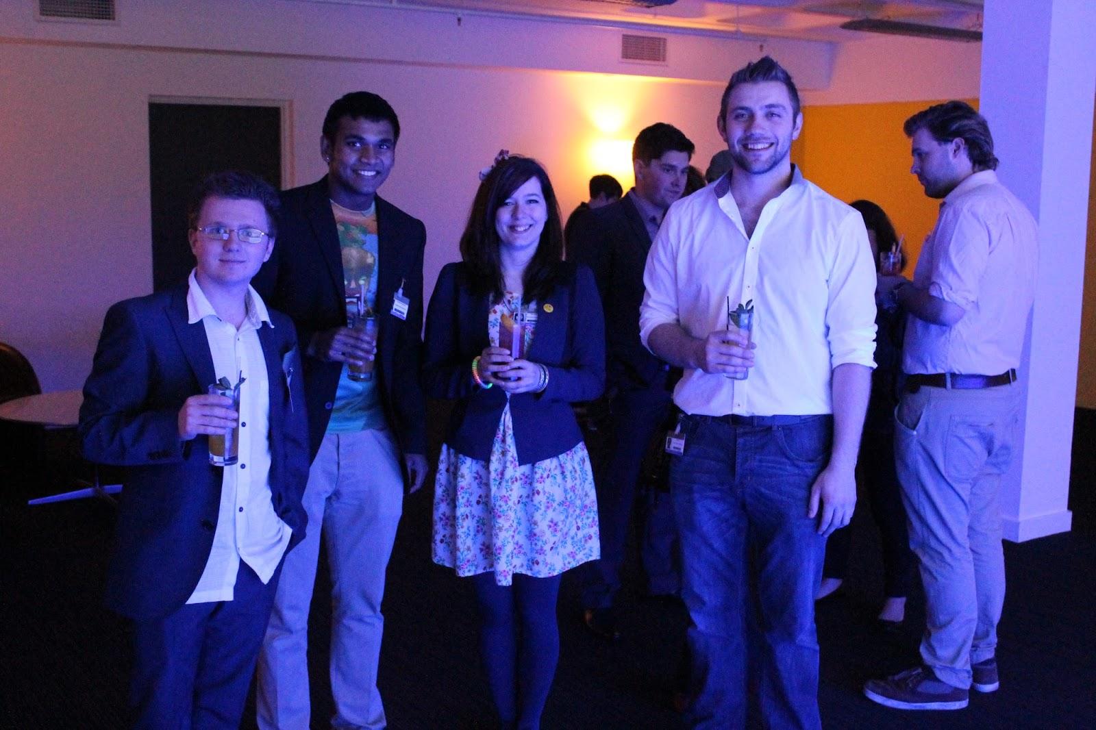 Award winning graduates Aidan Codd, Bharathi Anthonysamy, Molly Bolder and Max Rogers in the New Designers VIP Cocktail Lounge, July 2013