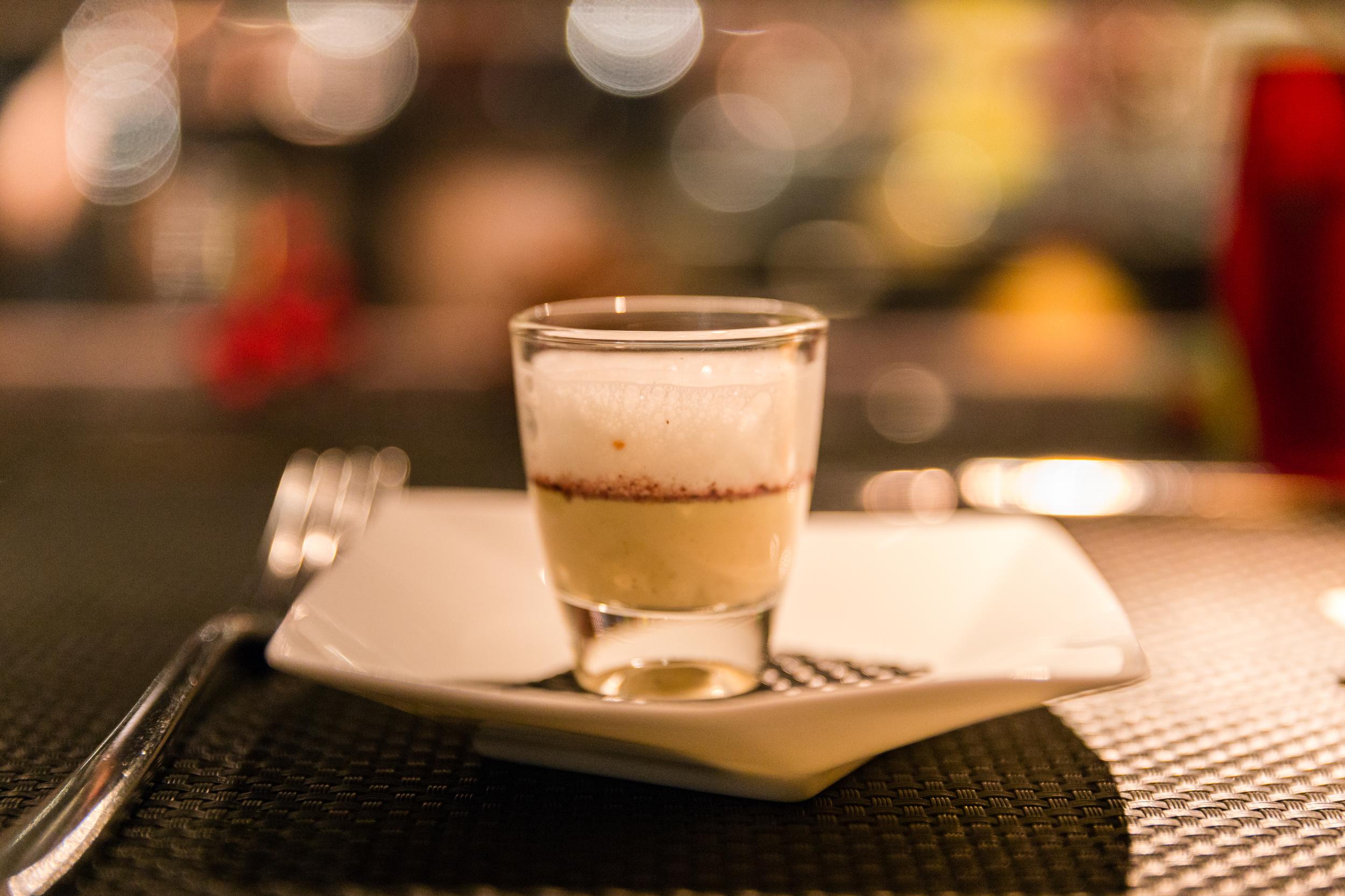 L'Amuse-Bouche - Foie gras custard with red porto wine and parmesan foam