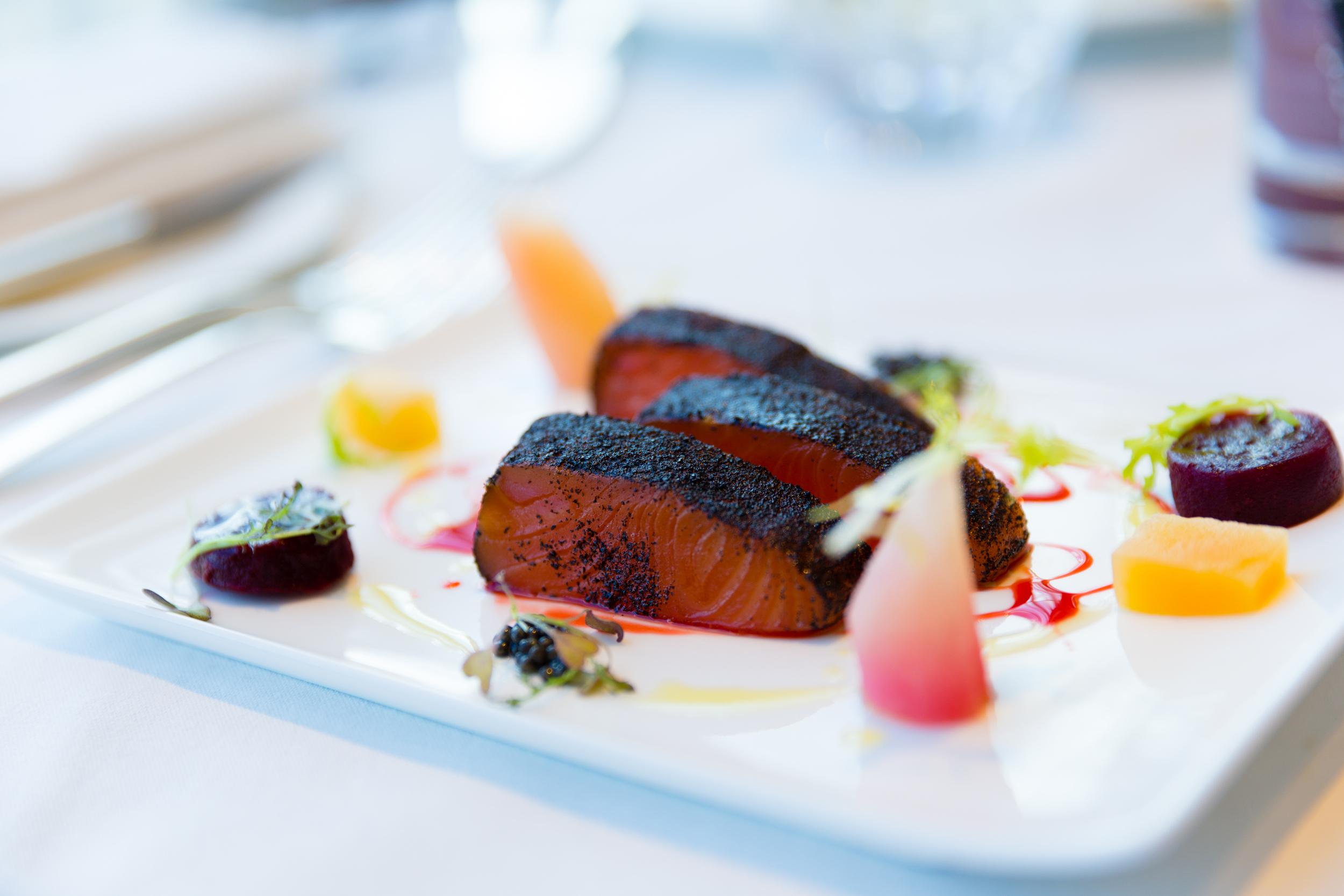 London Smoked Salmon Royal - Heritage beetroot, English Caviar, Lapsang Souchong tea