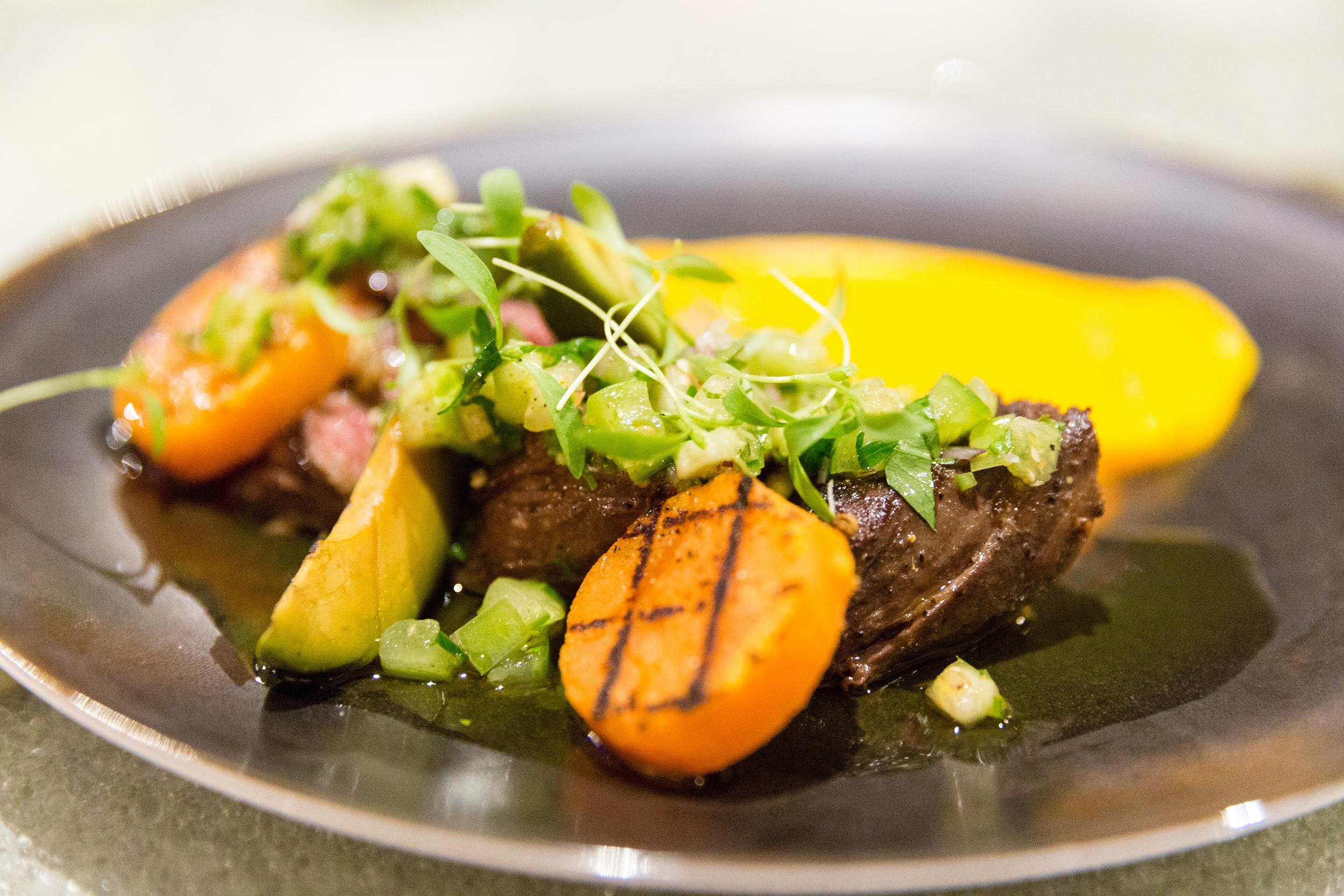 Grilled Wagyu Hanger Steak, Sweet Potato, Avocado and Salsa Verde