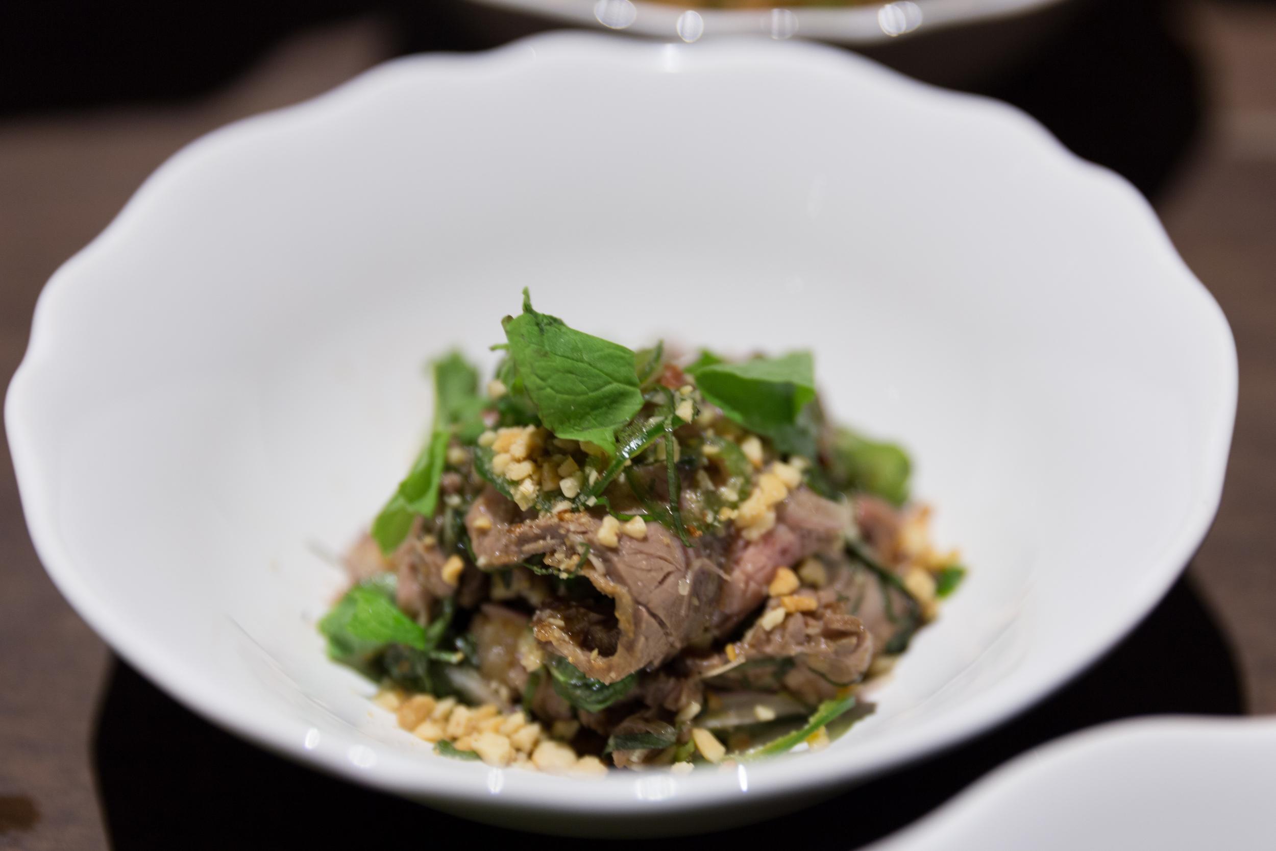 Salad of Grilled Beef, Mint, Betel Leaf, Lemongrass, Chincalok Palm Sugar Dressing