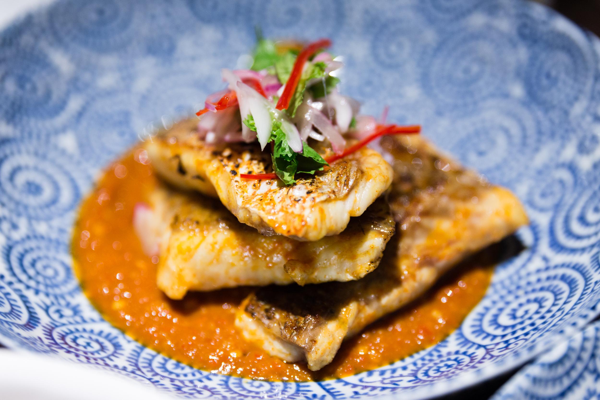 Coconut Charcoal Grilled Re  d Lion Snapper Fillet, Dried Shrimp Sambal, Red Onion Relish