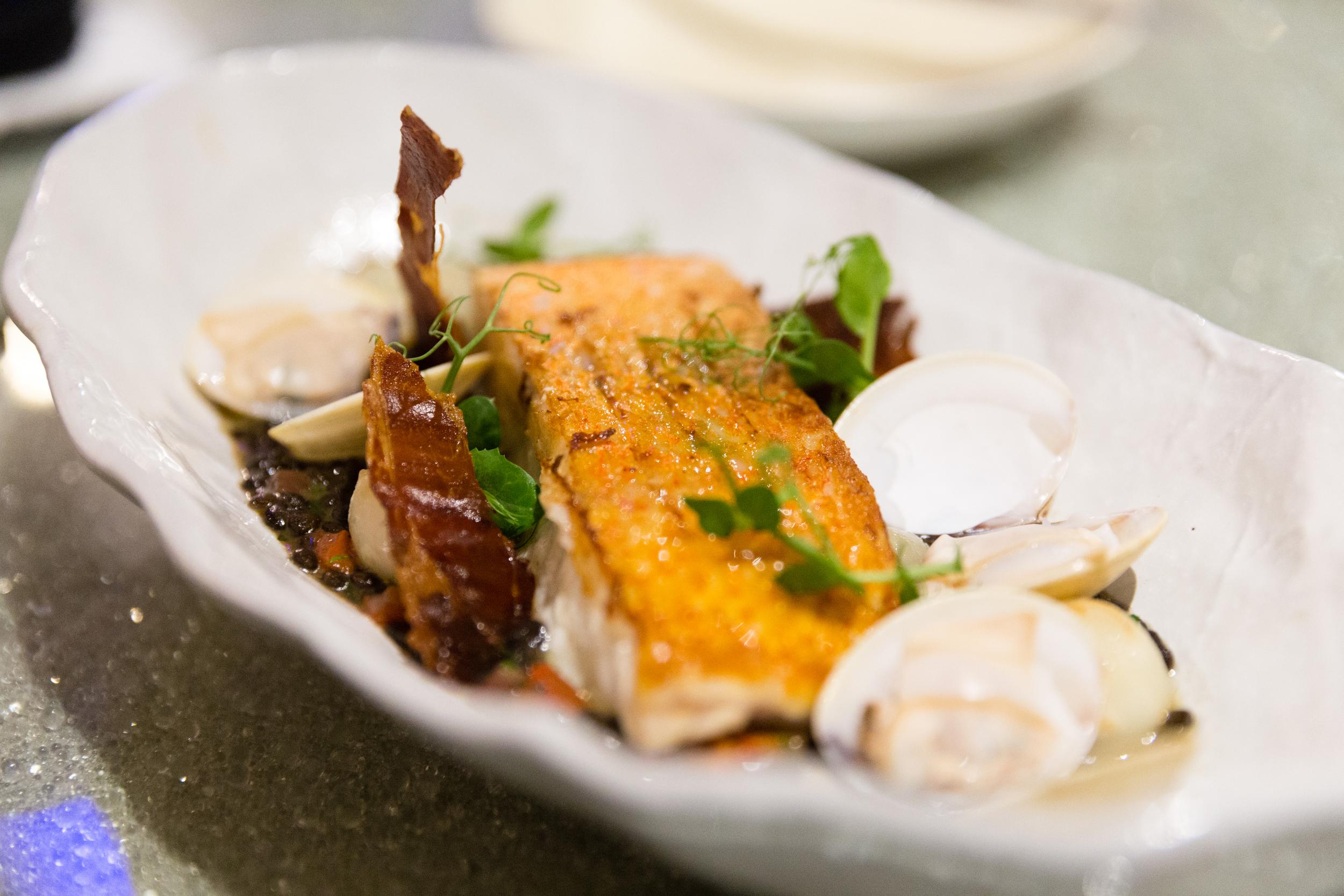 Seared Market Fish, Lentil, Clams and Crispy Ham