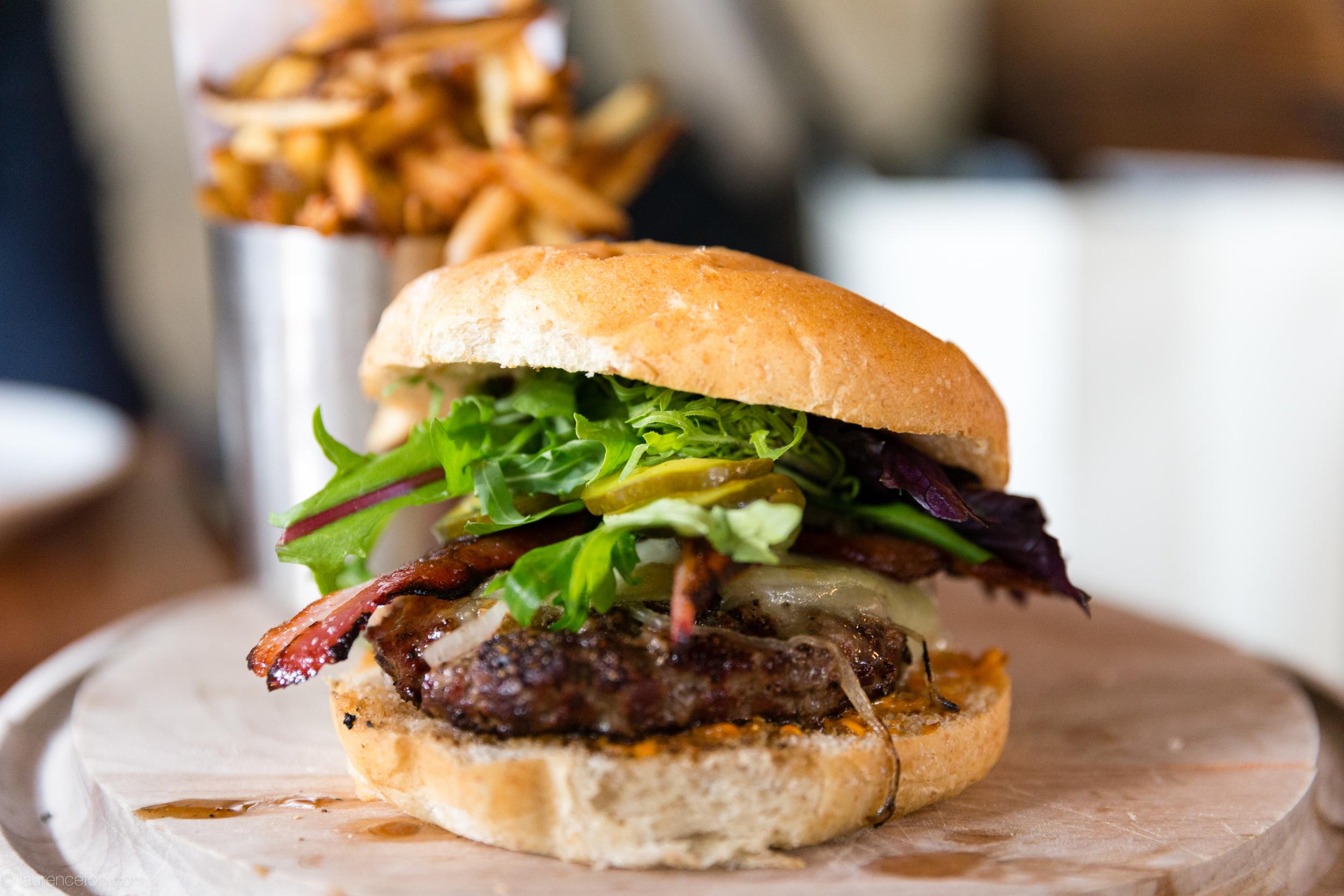 Alder Burger. Cascade Naturalchubut cheese. house bacon.hazelnut romesco