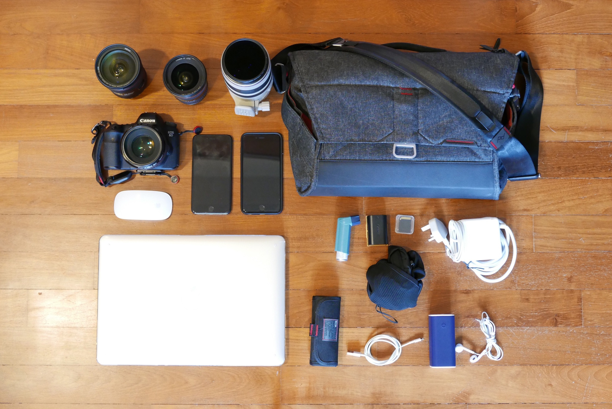 "Canon 6D, 17-40mm F4 L, 24-70mm F2.8 L II, 50mm F1.2 L, 100-400mm F3.5-5.6 L, The Everyday Messenger Bag by Peak Design, iPhone 6 Plus & 6s Plus, 15"" MacBook Pro Retina and various little knick knacks..."