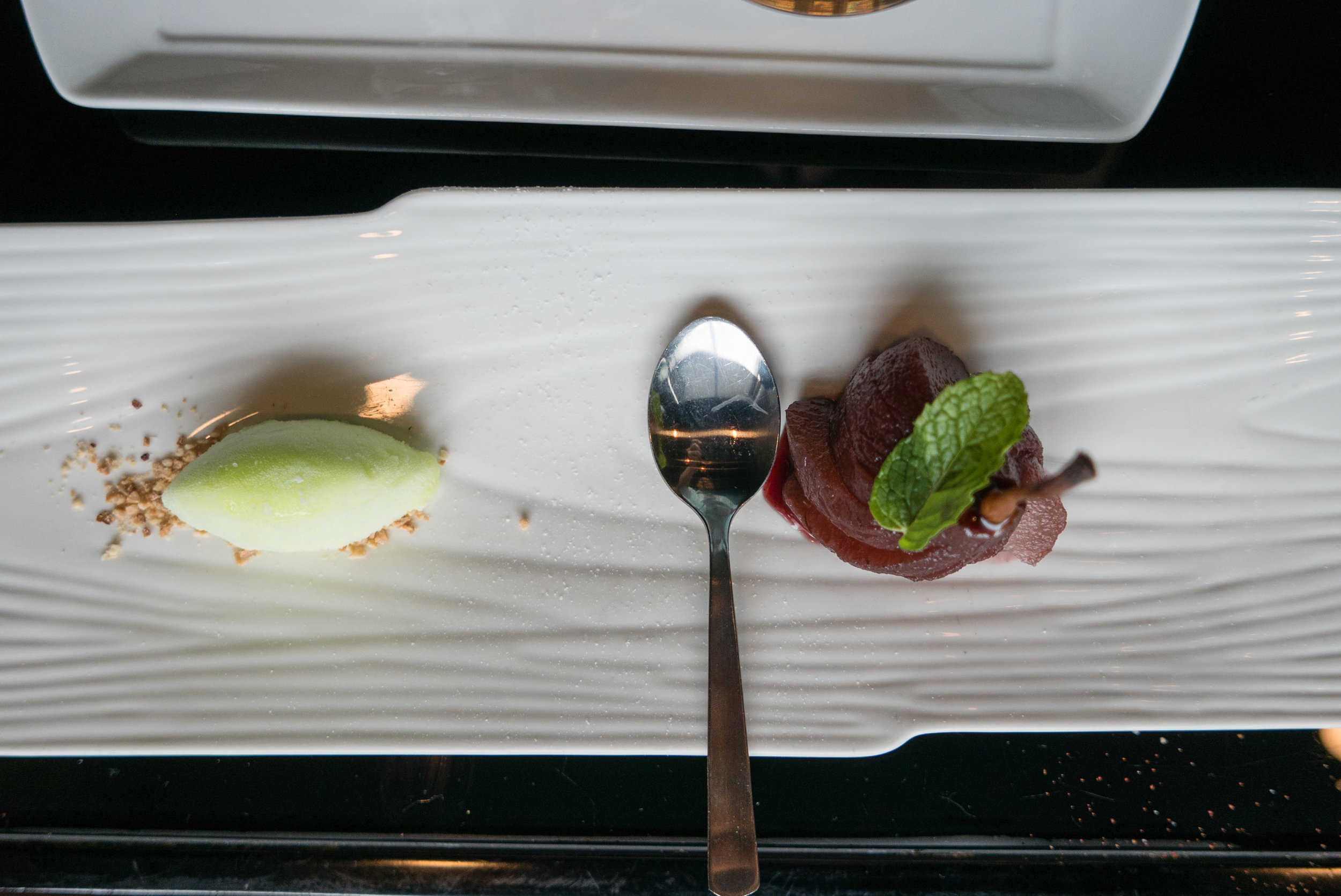 Red Wine Poach Pear with Lime Sorbet