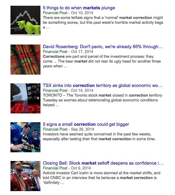 Recent media headlines regarding market correction