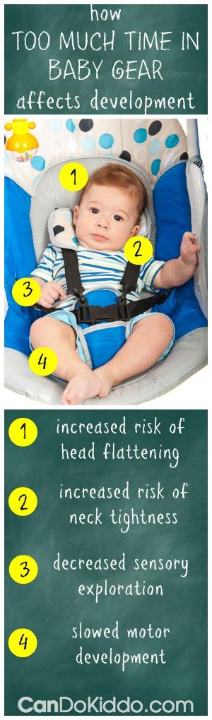 A pediatric OT explains how too much time in baby gear affects development : flat head, torticollis, sensory processing, motor development