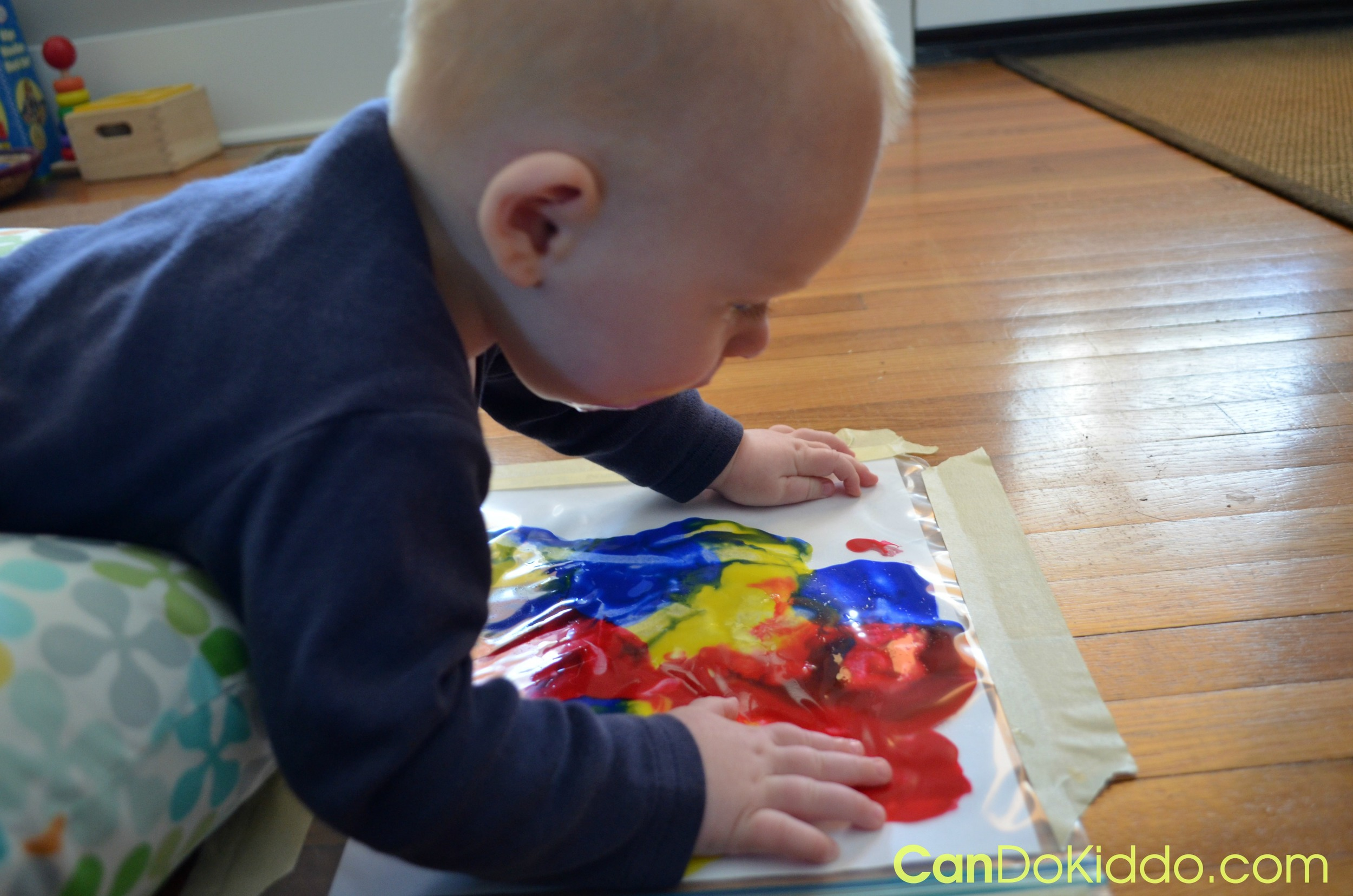 Tummy Time Finger Painting - craft activities for babies