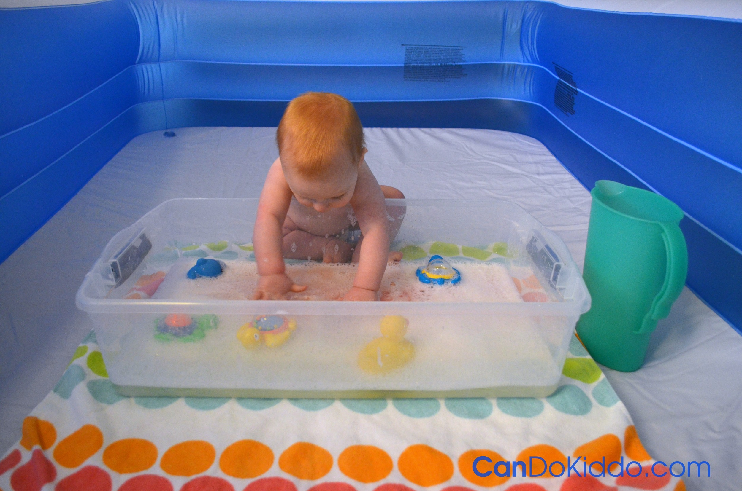 Indoor water play - another great use for a baby pool playpen. CanDo Kiddo