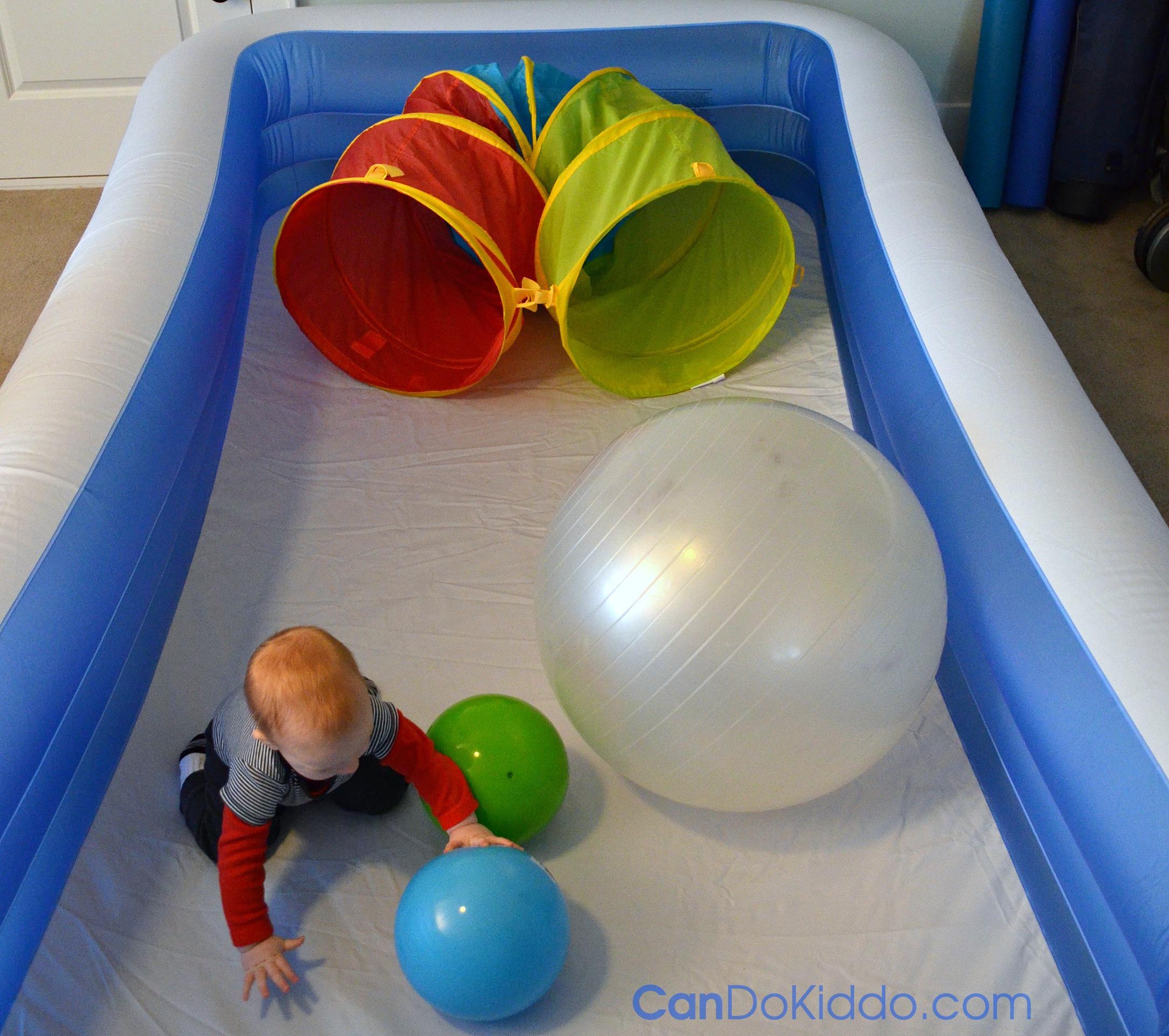 Indoor play in the baby pool playpen. CanDo Kiddo