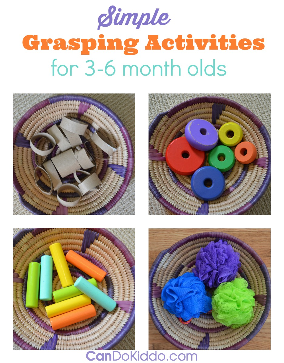 How grasping skills develop in babies AND simple grasping activities from an OT mom. CanDo Kiddo