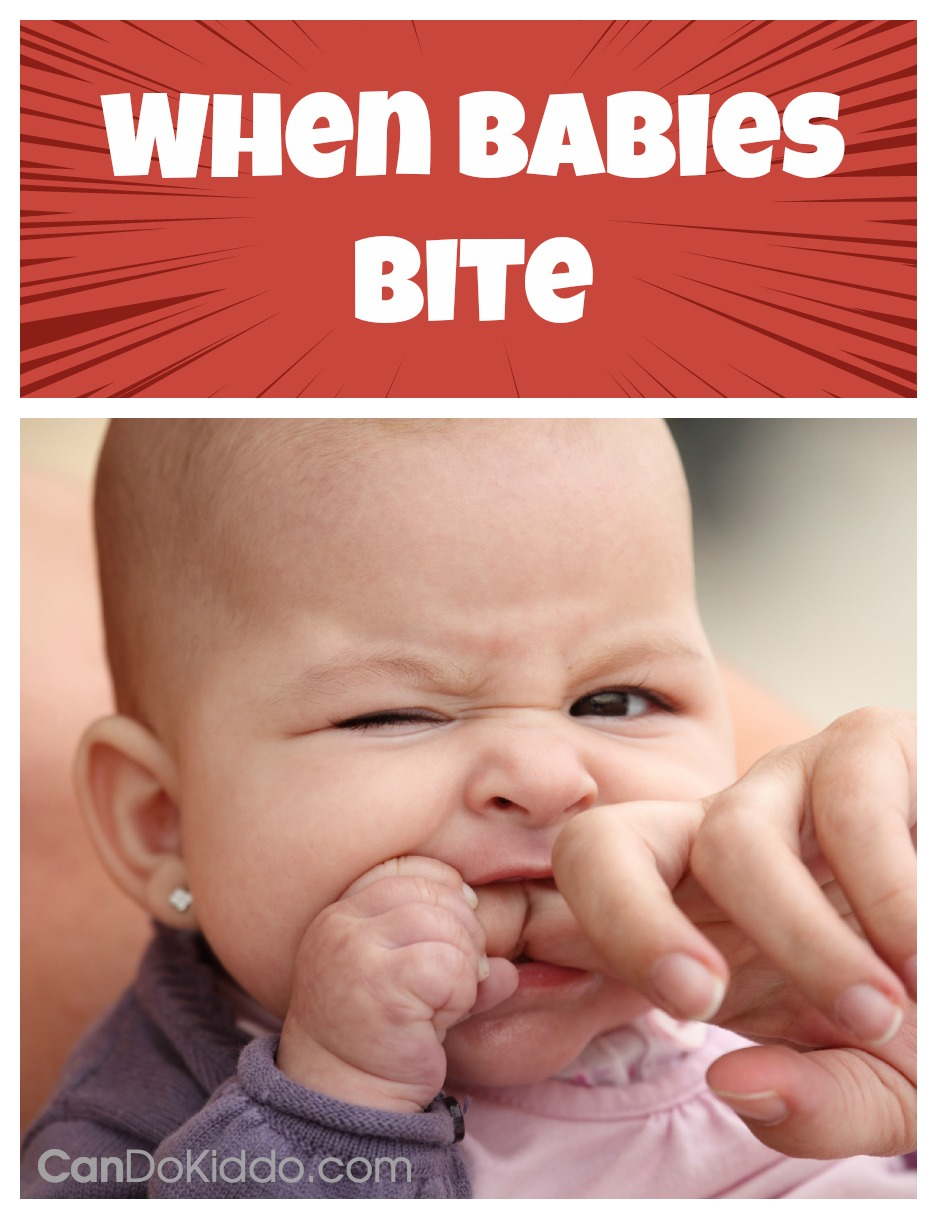 Baby Biting - tips for tackling biting while breastfeeding, biting while held and biting other kids. CanDo Kiddo