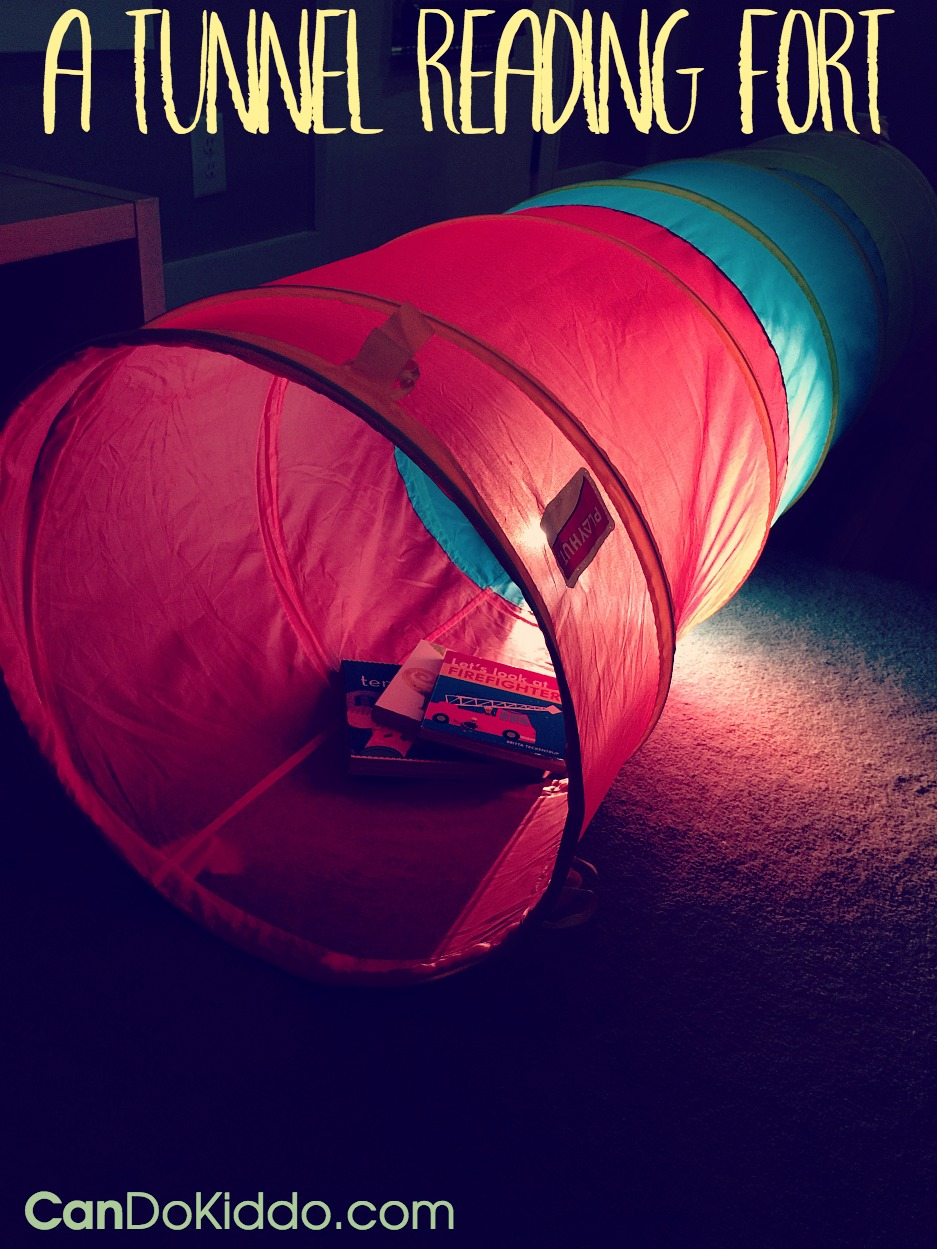 Tunnel Reading Fort - simple tunnel play for babies toddlers and preschoolers. CanDo Kiddo