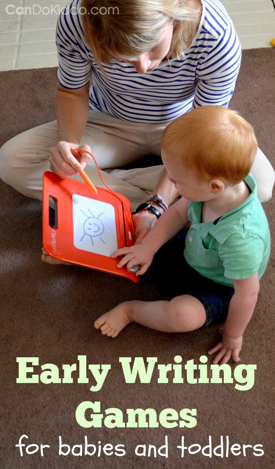 Tips and tricks for playing with crayon-eaters and paper-rippers. Baby and toddler play activities. CanDo Kiddo