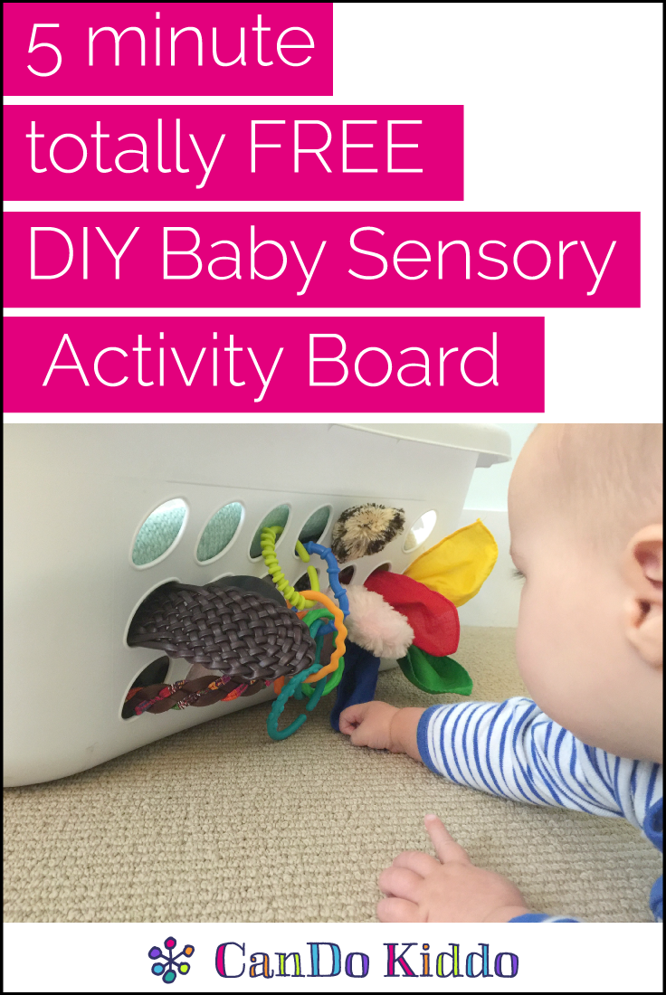 5 minute free DIY Baby Sensory Activity Board. CanDoKiddo.com