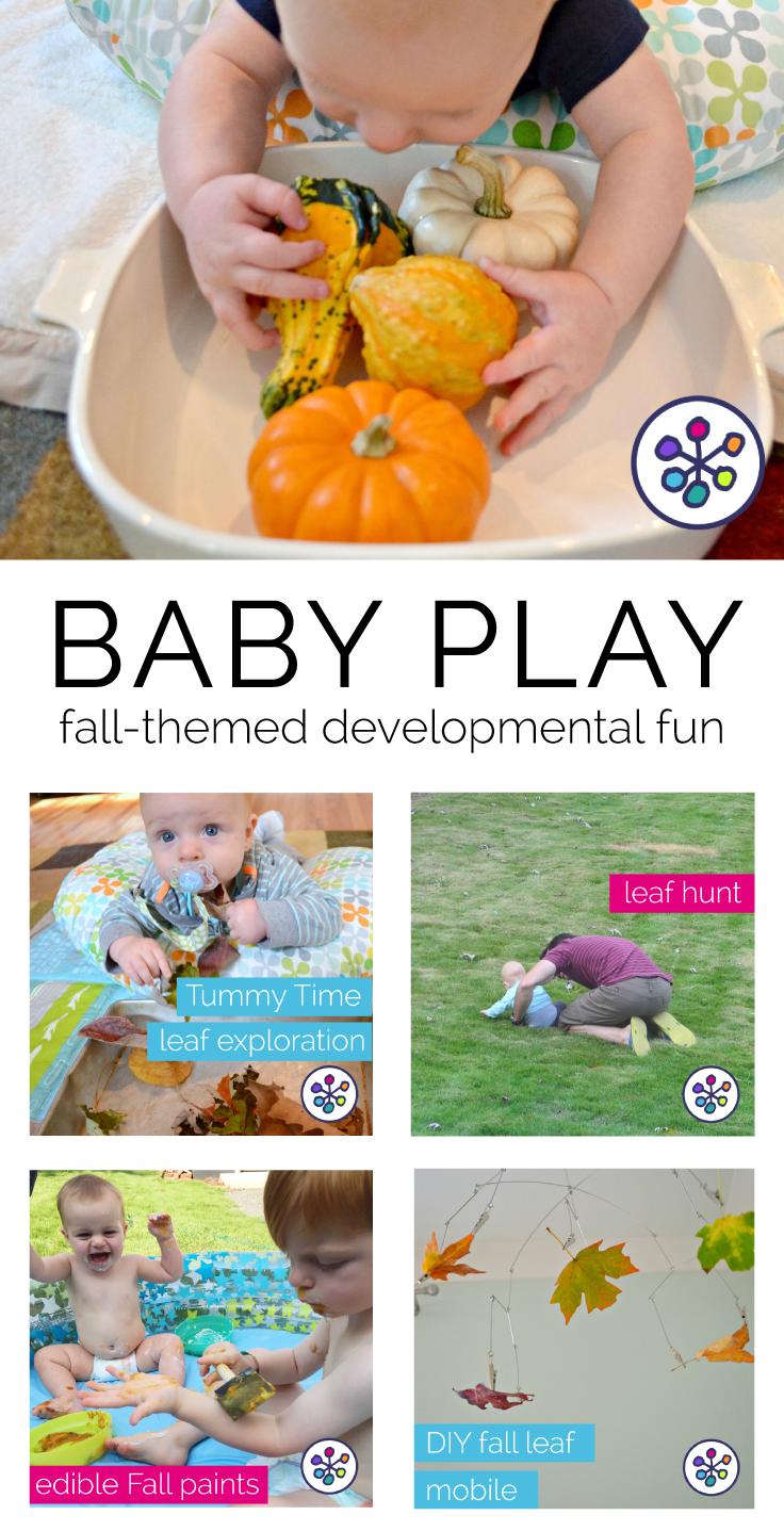 Fall-themed baby play activities - Tummy Time - sensory play. CanDoKiddo.com