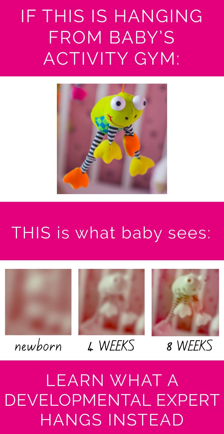 What a newborn baby sees under activity gym. CanDoKiddo.com