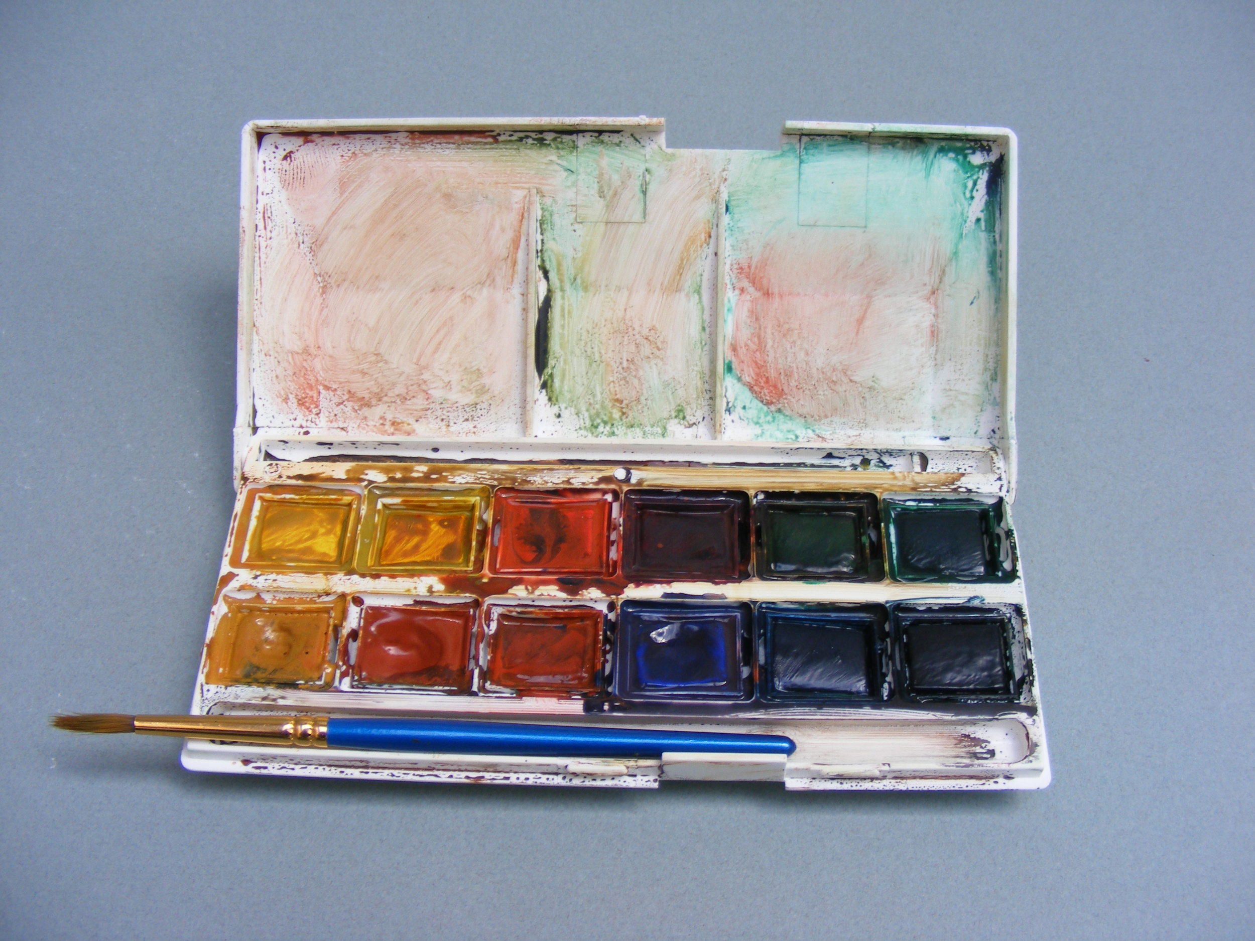 messy watercolour pans