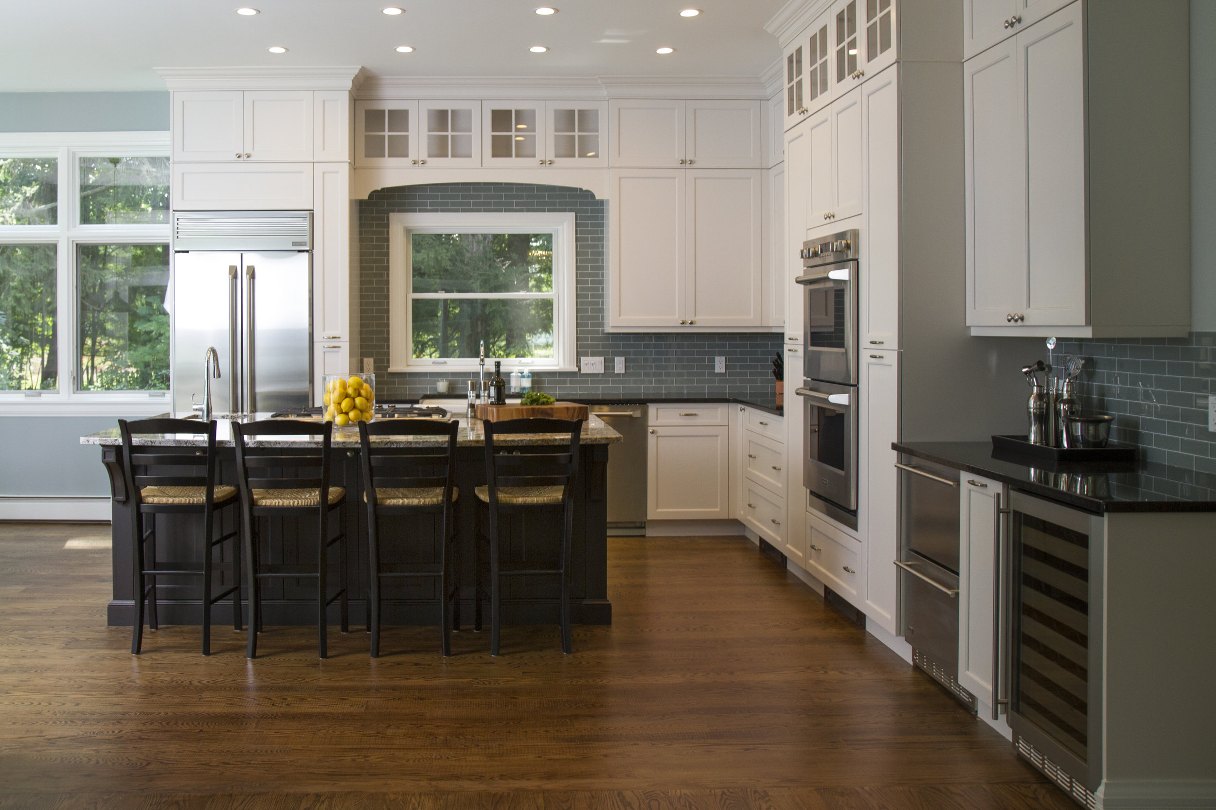 Sometimes, the best way to achieve your goal is a blend of custom and standard. A semi-custom kitchen like this one is a good example of how and where to compromise. It's more reasonably priced than a fully custom kitchen, but it allows you to make small adjustments to accommodate awkward spacing or sizing issues, or to add components that are must-haves for you personally.
