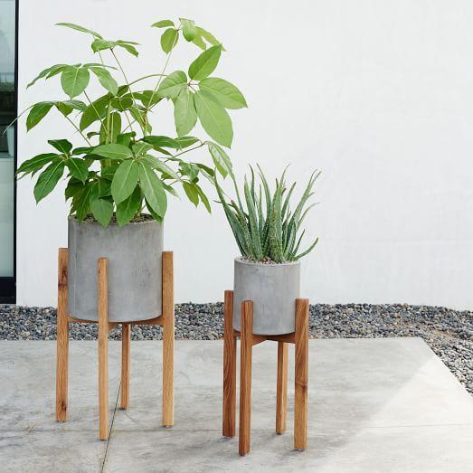West Elm Modern Wood Leg Cement Planter