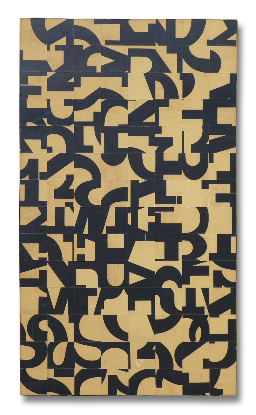Norman Ives, Reconstruction, 1961, collage of black and white paper on masonite board, 30x20x1.5