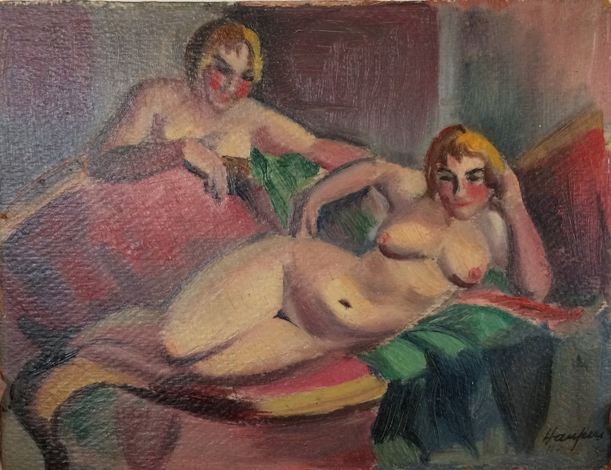 Clara Mairs    Two Women   Oil on paperboard  8 ¼ x 11 inches