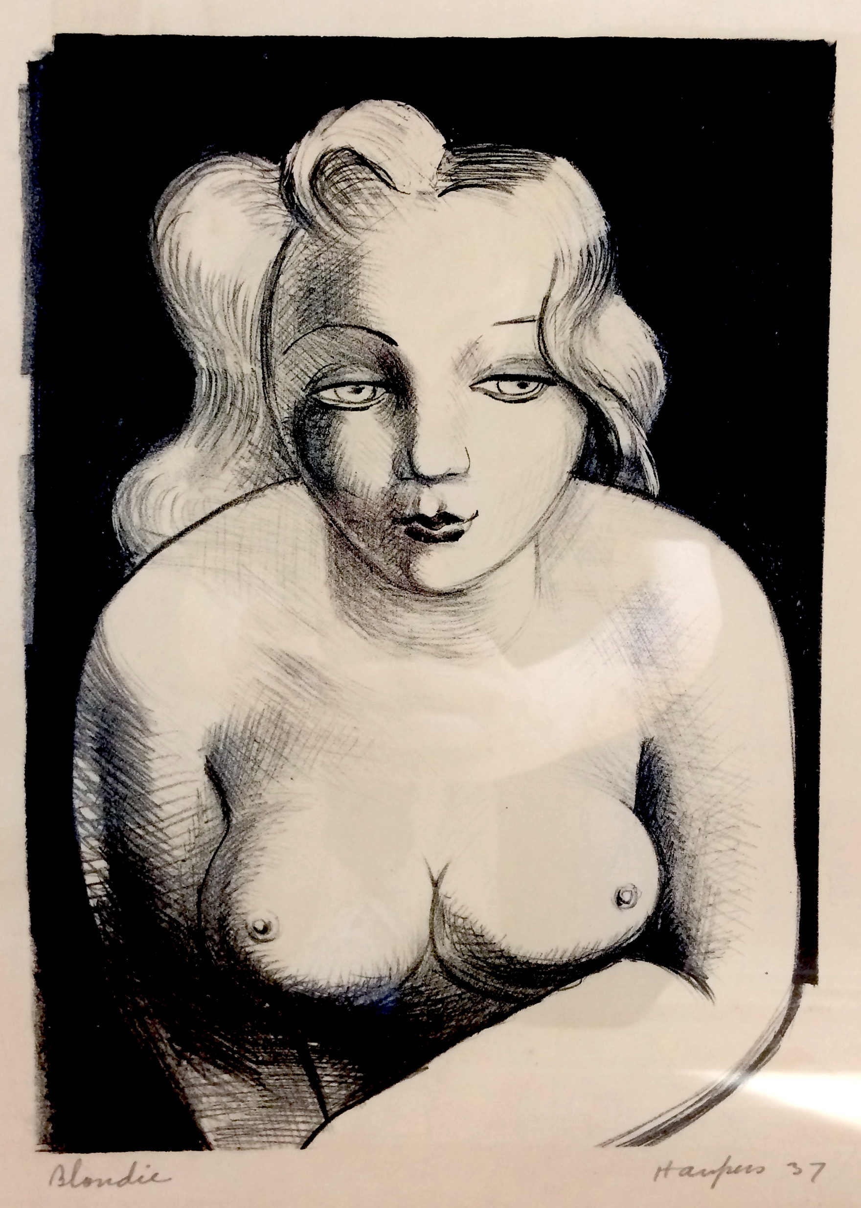 Clem Haupers    Blondie , 1937  Lithograph  Image: 13 x 9.5 inches  Framed: 20 ½ x 17 inches
