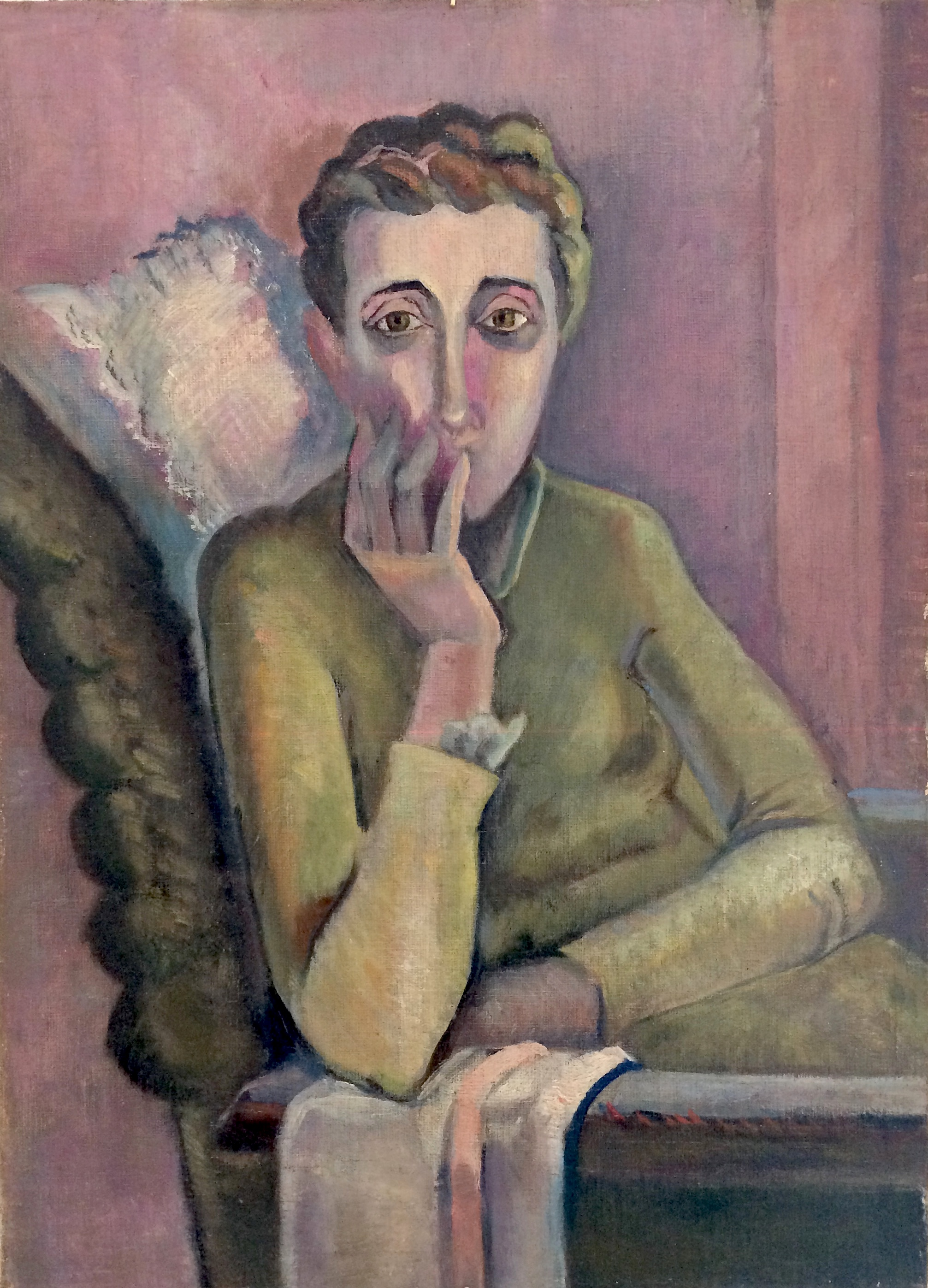 Clem Haupers    Self Portrait (Wearing Green) , c. 1930s  Oil on board  26 ½ x 19 inches