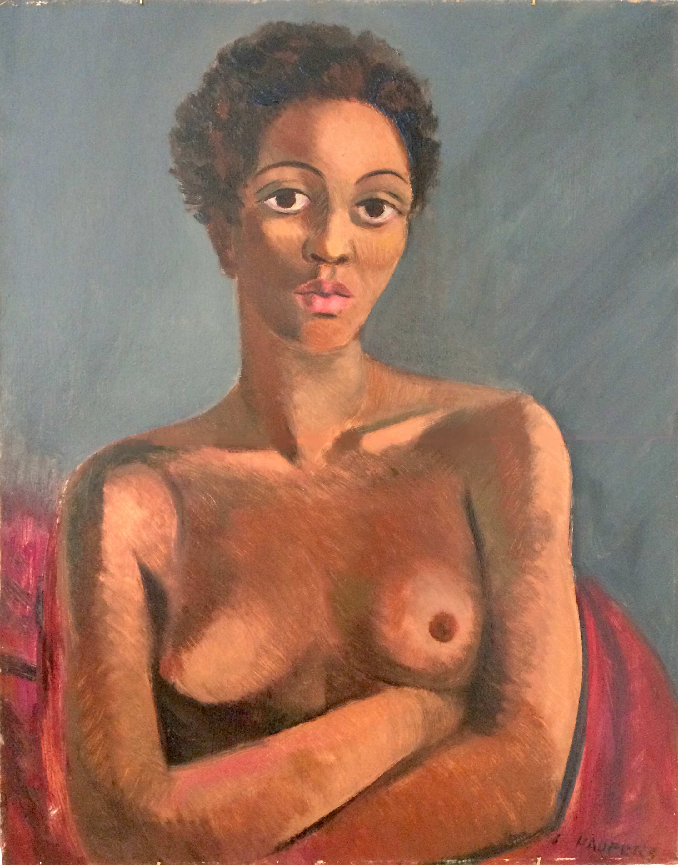 Clem Haupers    Black Nude   Oil on paperboard  31 x 23 ½ inches