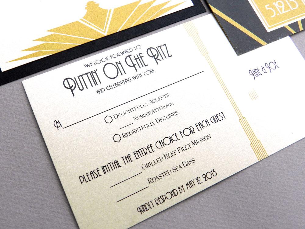 Gatsby Wedding Invitation RSVP Postcard by Ashley Parker Creative
