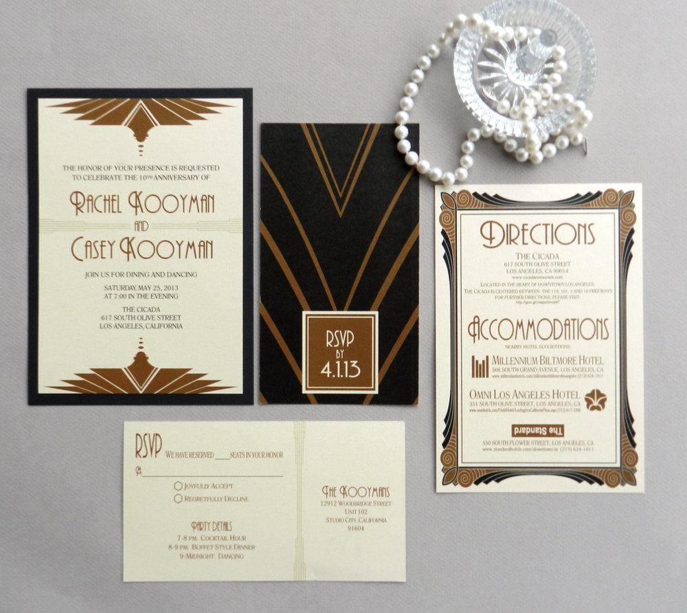 Gatsby Art Deco Wedding Anniversary Invitation