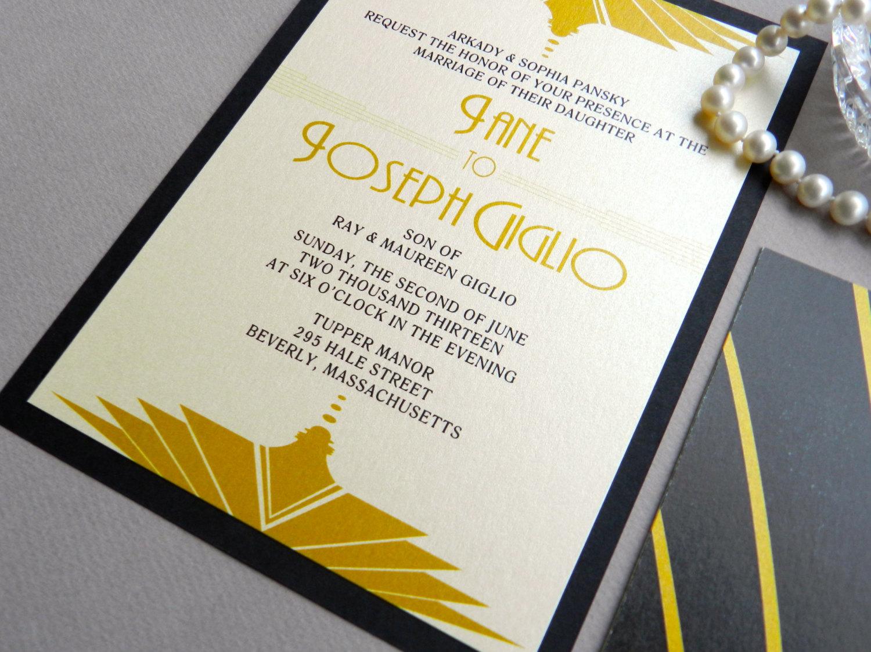 Gatsby Wedding Invitation by Ashley Parker Creative