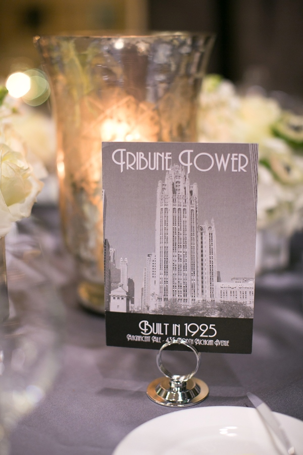 Chicago Architecture Table Numbers (Tribune Tower) by Ashley Parker Creative.  Photo by Christy Tyler Photography.  Featured on Style Me Pretty