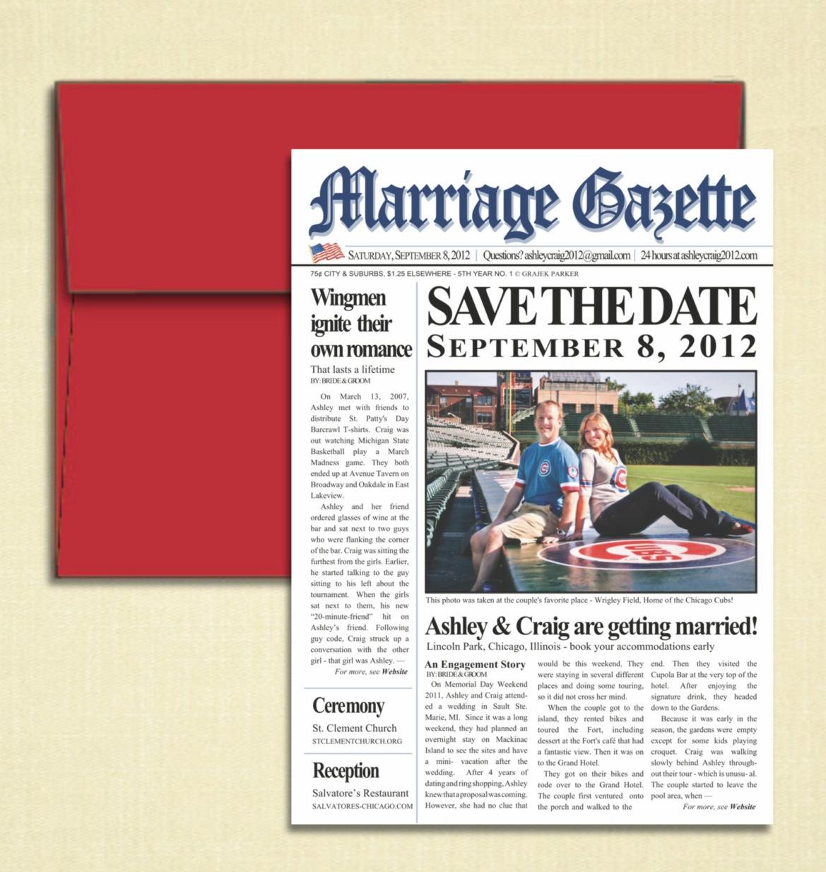 Newspaper Wedding Save the Date