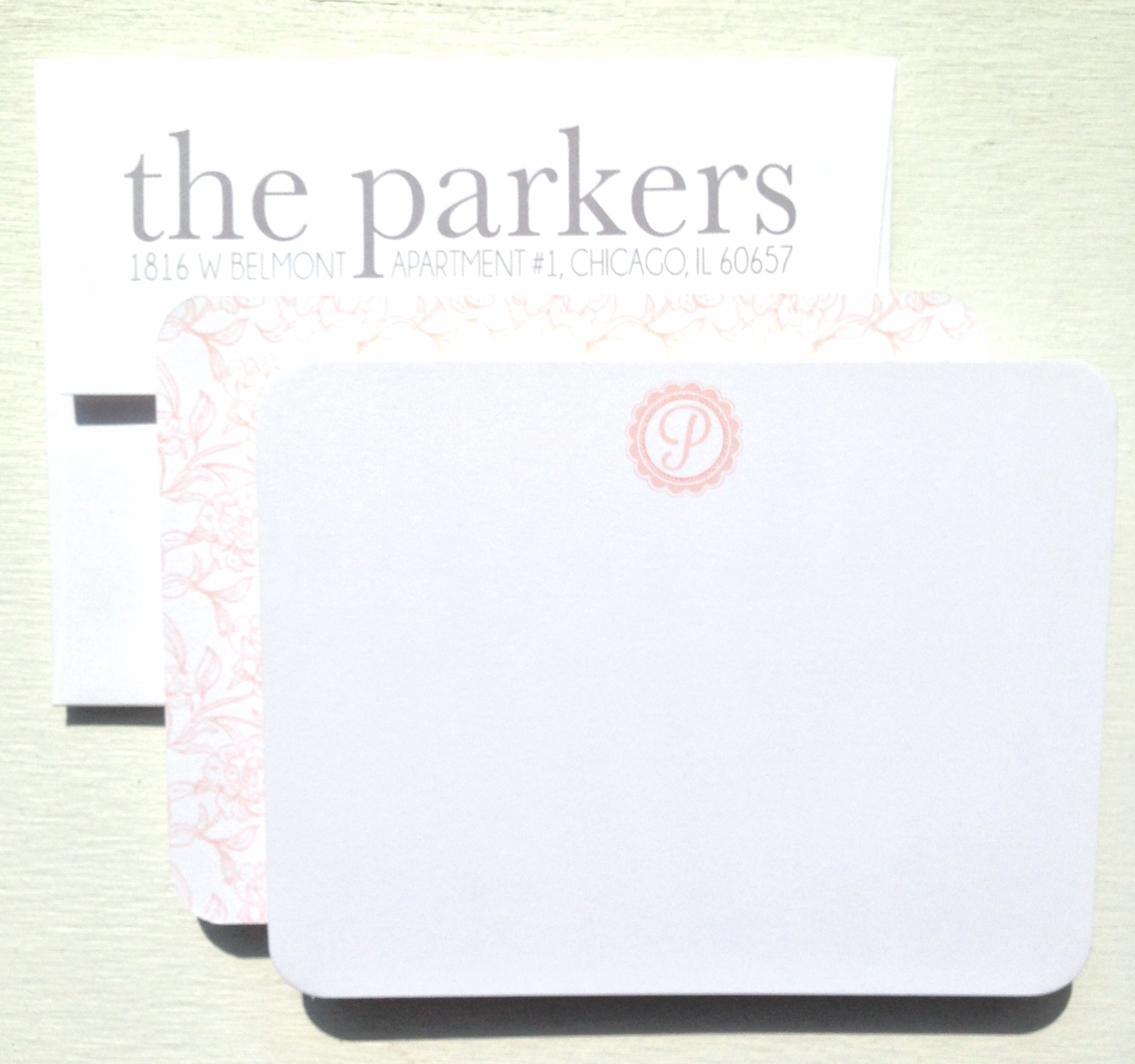 Peonies Monogram Notecards by Ashley Parker Creative.  Personalized Thank You Cards.