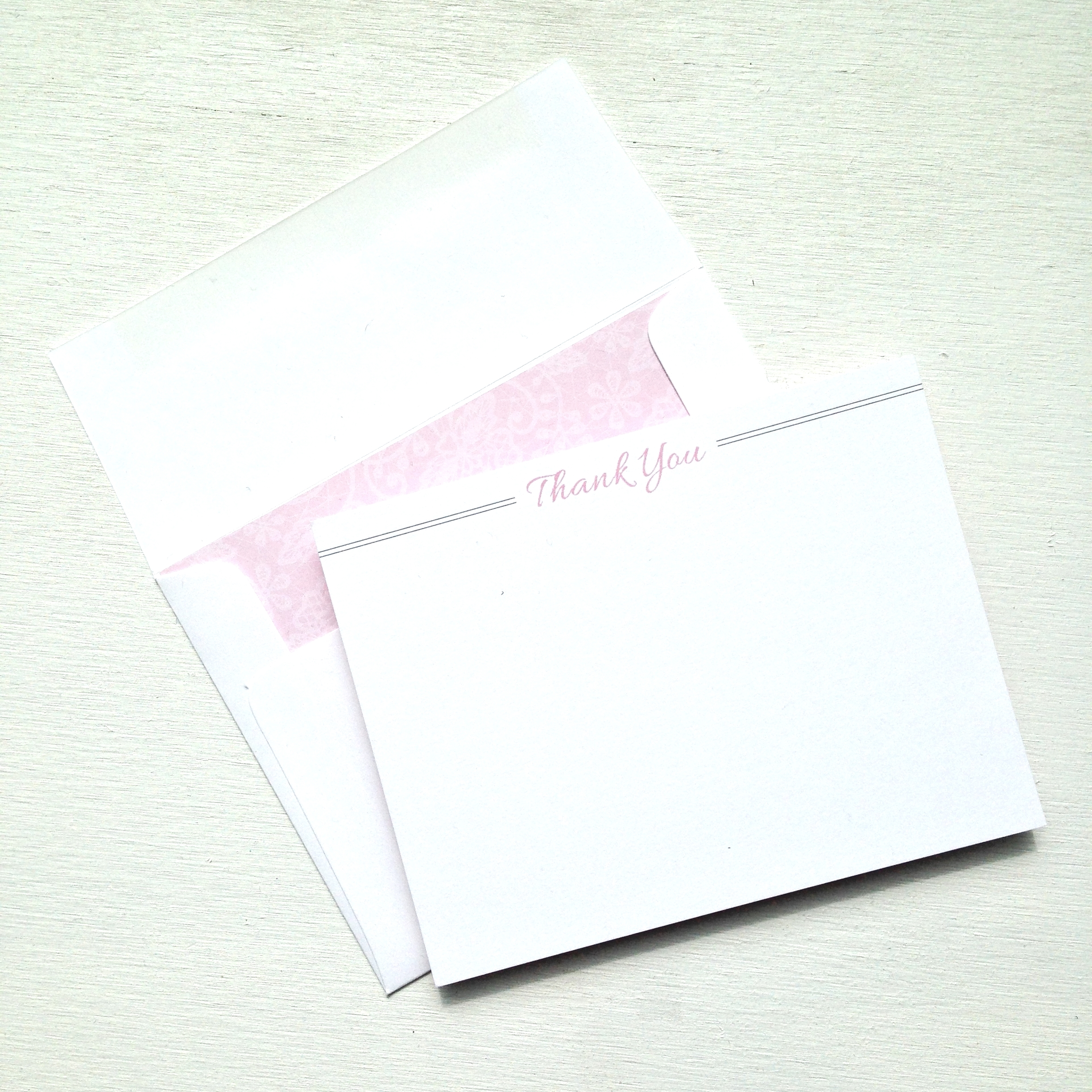 Lace Thank You Cards by Ashley Parker Creative.  Pink Lace Thank You Card for Weddings or Special Occasions.