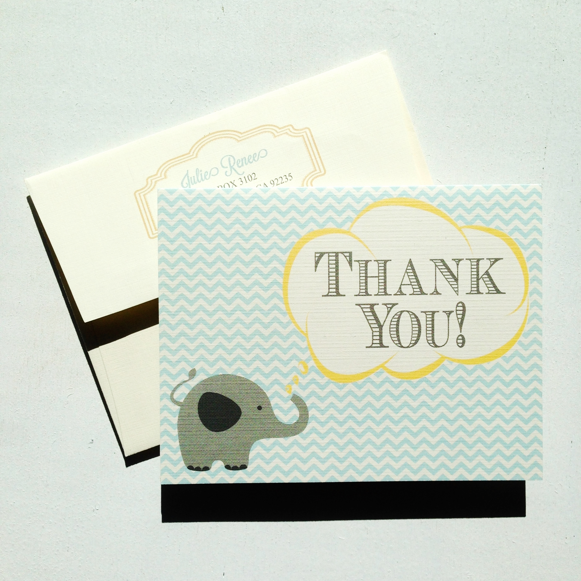 Elephant & Chevron Thank You Cards by Ashley Parker Creative.  Cute cards to thank your friends and family for baby gifts.  Baby Thank You Cards.