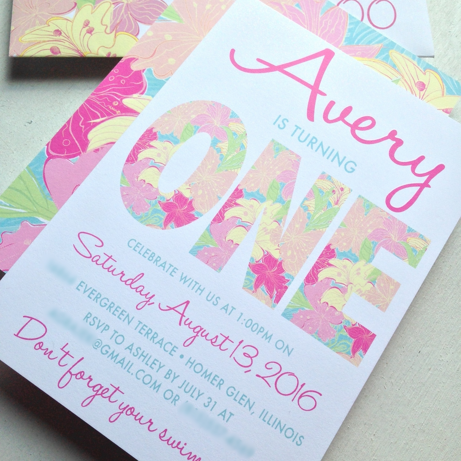 Preppy Tropical Birthday Invitation.  Lilly Pulitzer Inspired.  Pink, Blue, Yellow, Lime