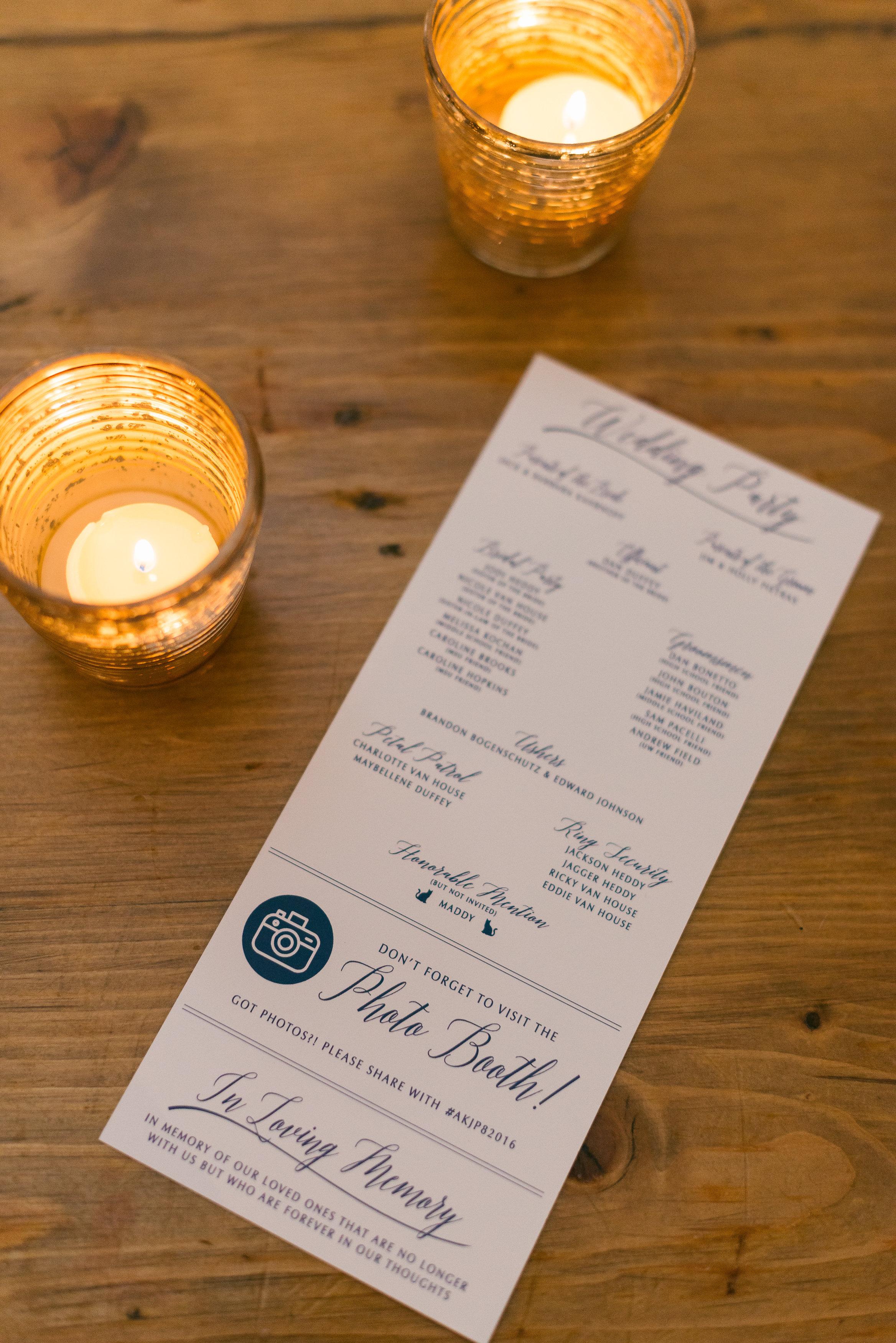 Modern Script Custom Wedding Ceremony Program i n Navy and White by Ashley Parker Creative