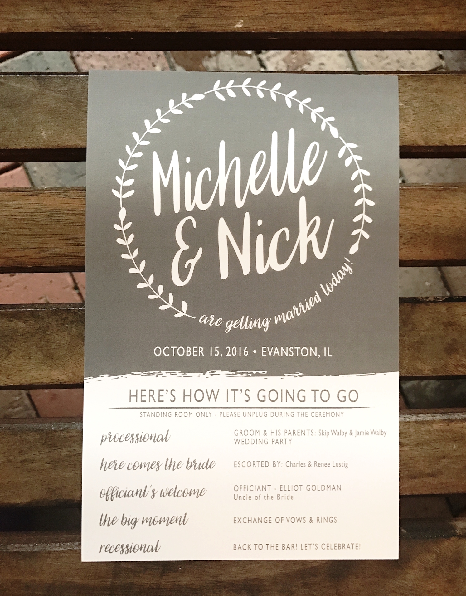 Industrial Chic Modern Rustic Wedding Ceremony Program in Charcoal by Ashley Parker Creative