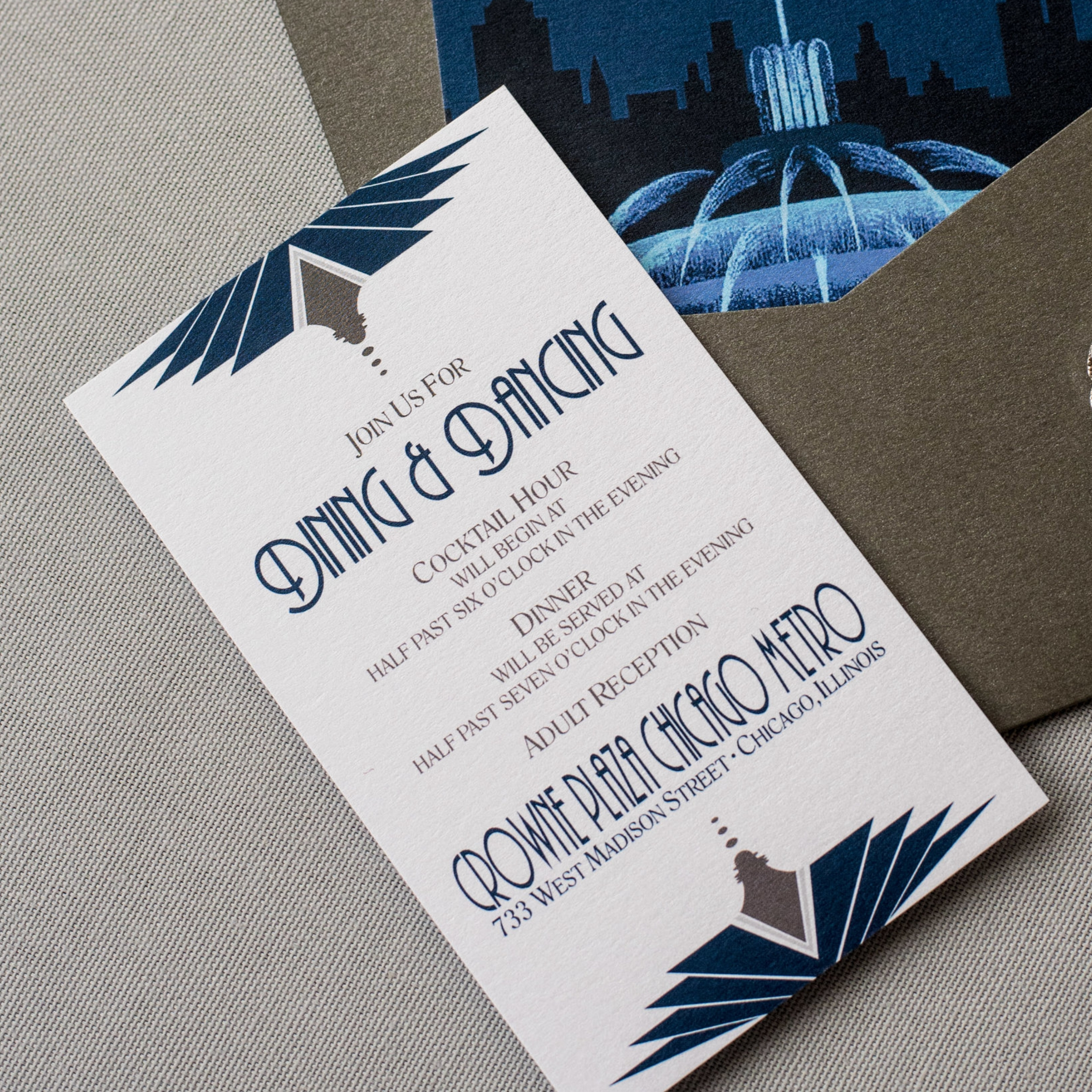 Chicago Wedding Invitation with Skyline, Cityscape, Map, and Fountain with an Art Deco Theme in Navy and Silver in a Pocket Invite by Ashley Parker Creative (Reception Insert)